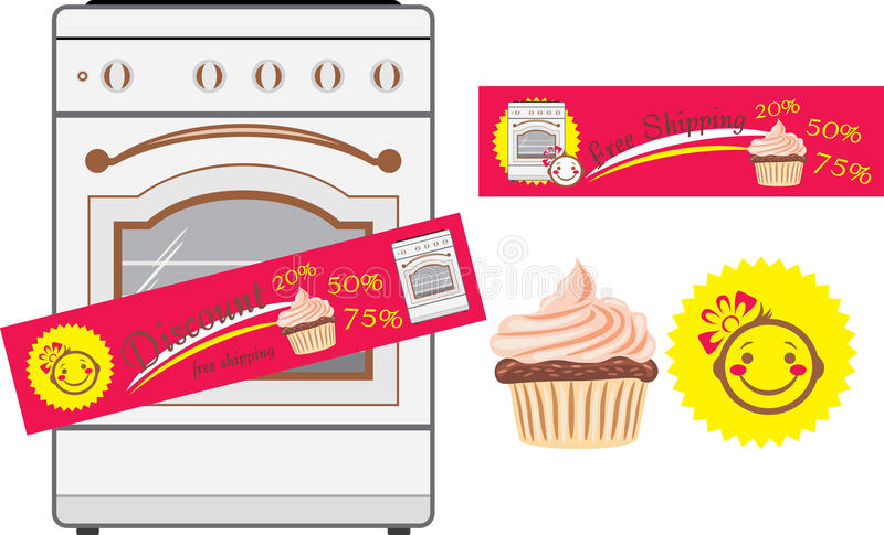Kitchen stove and discount stickers royalty free stock images
