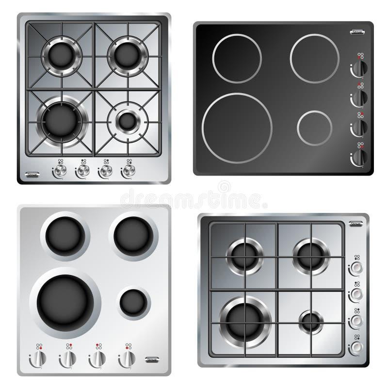 Kitchen Stove Hob Set Stock Image. Image Of Fire
