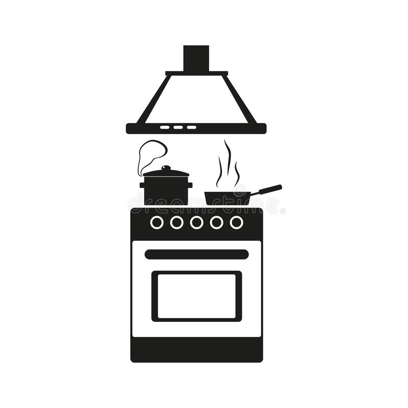 Kitchen stove icon, boiling pot and frying pan on the stove, preparing food, flat outline style stock illustration