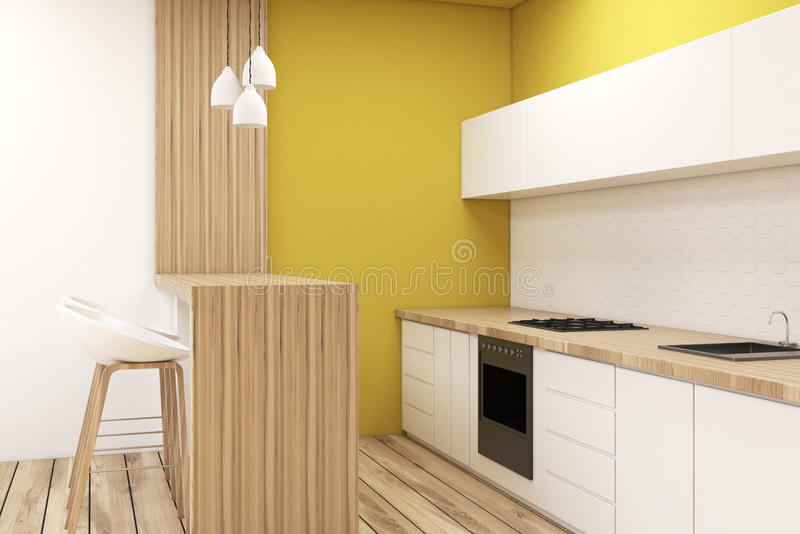 Kitchen in a studio apartment. Kitchen corner in a studio apartment. There is a counter top, a bar with a row of stools and a vertical picture hanging on a royalty free illustration