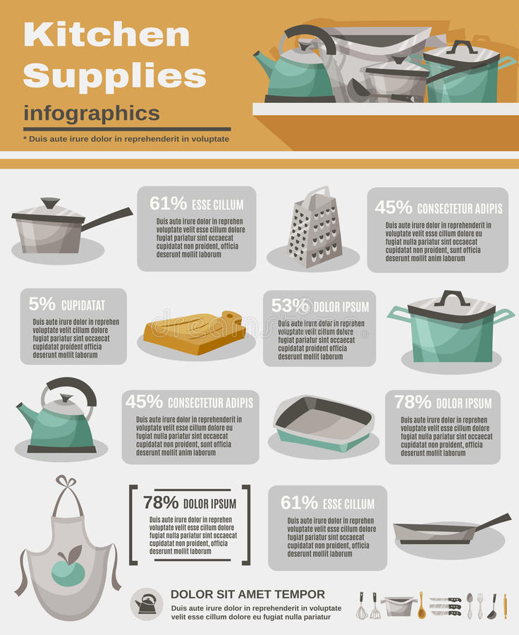 Kitchen Stuff Infographic Set royalty free illustration