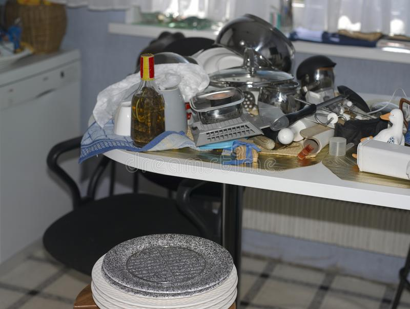 Kitchen Stuff Stack. Ed on a table, indoor closeup stock photography