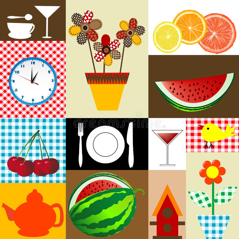 Kitchen table cloth design royalty free illustration