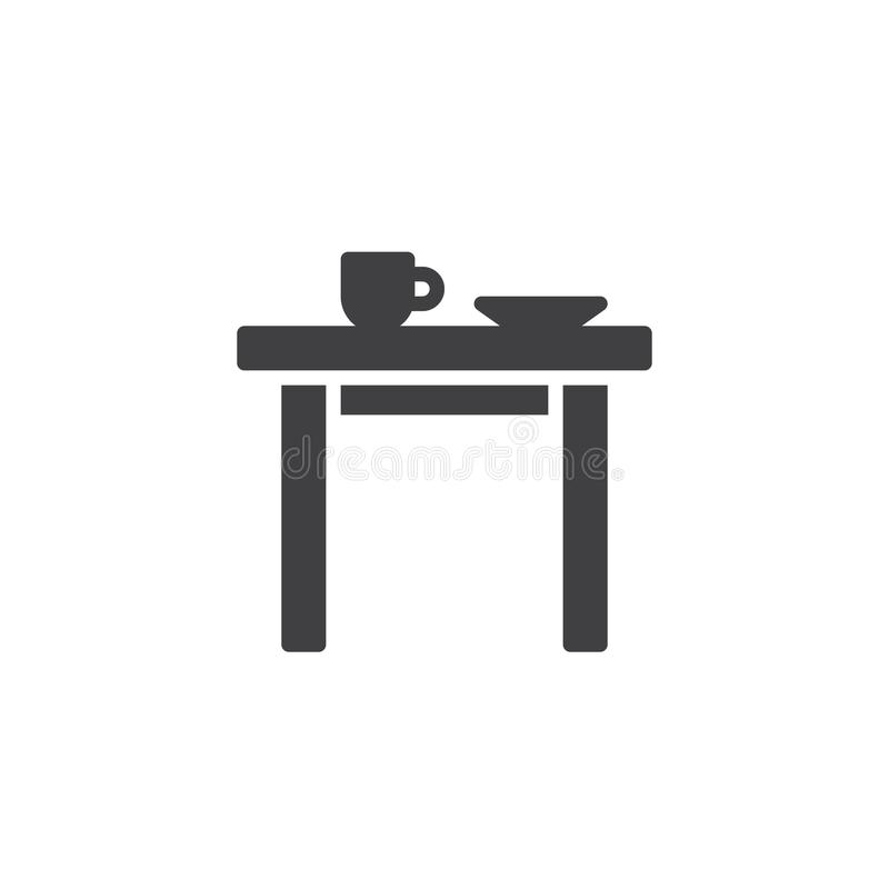 Kitchen table with cup and plate icon vector stock illustration