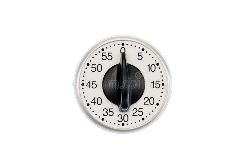 Kitchen Timer Set To 0 Minutes Isolated On White royalty free stock photography