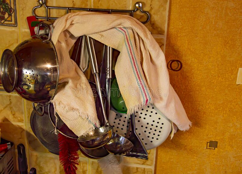 Kitchen tool hanging on the wall stock photos