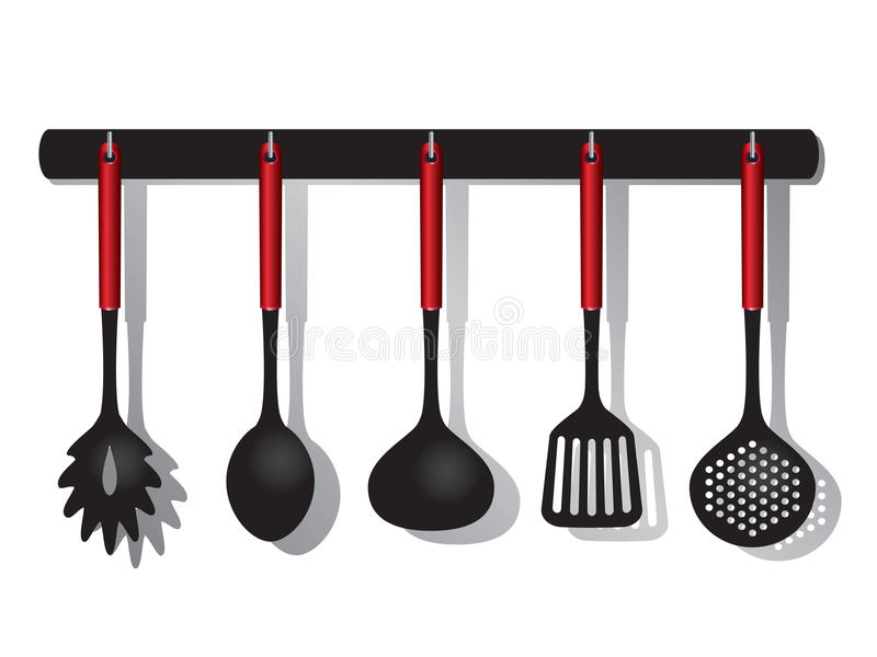 Kitchen tools. Vector Rack of kitchen tools utensils illustration isolated on white background
