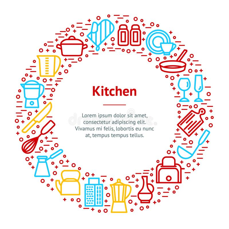 Kitchen Tools Concept Banner Card Circle. Vector royalty free illustration