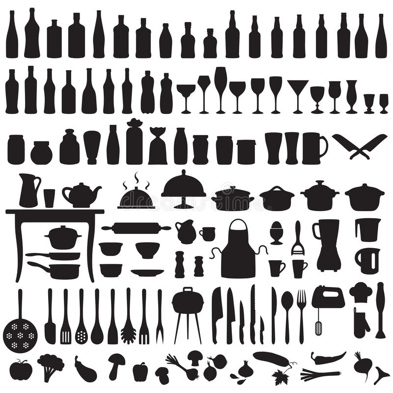 Kitchen tools, cooking icons vector illustration