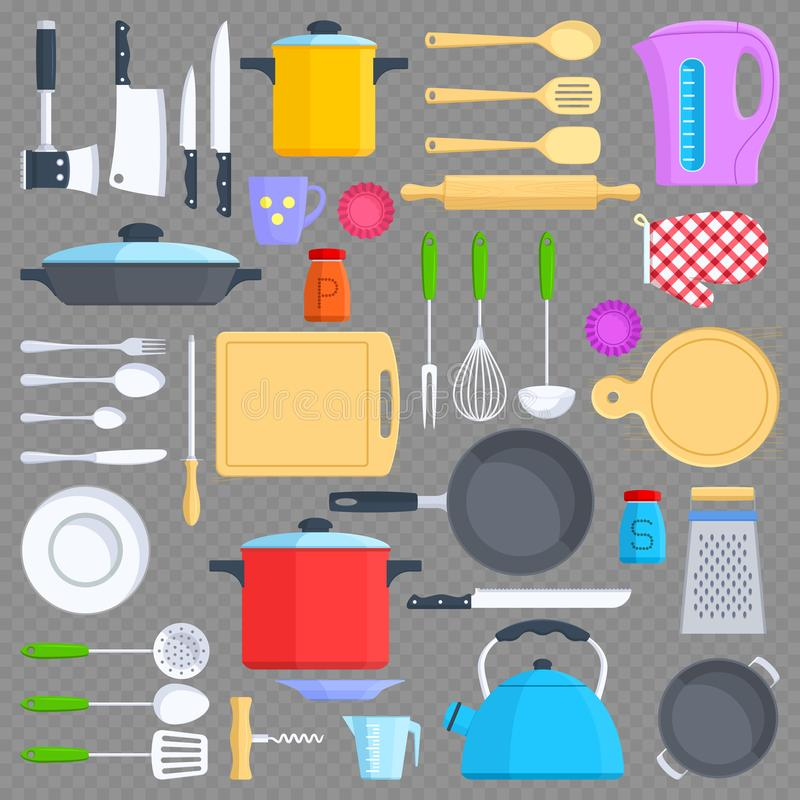 Free Kitchen Tools, Cookware And Kitchenware Flat Icons Stock Photo - 104841900
