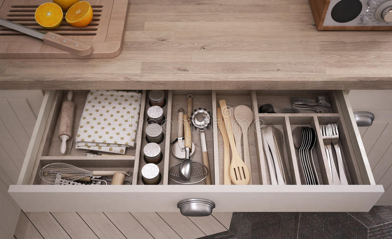 Kitchen tools in drawer. 3d illustration vector illustration