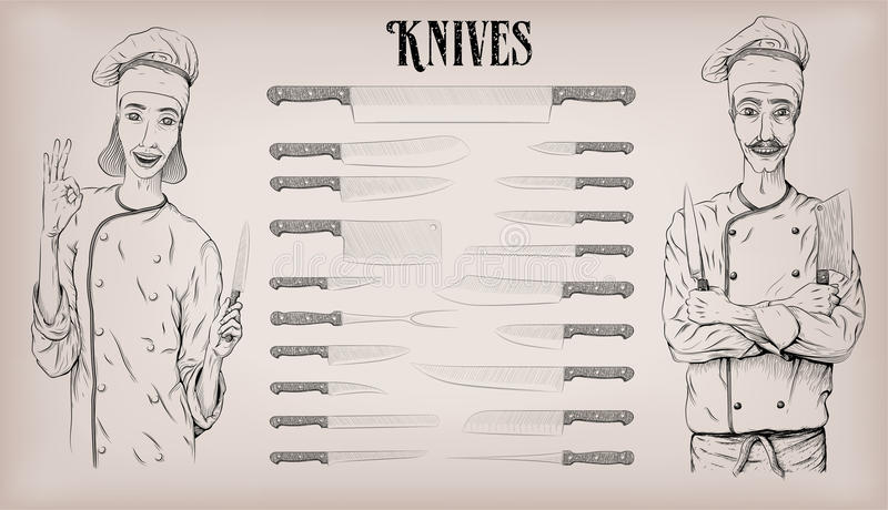 Kitchen tools knife knives utensils set: chef`s, peeling; woman. And man chef cook happy smile portrait. Vector beautiful hand drawn illustration poster info royalty free illustration