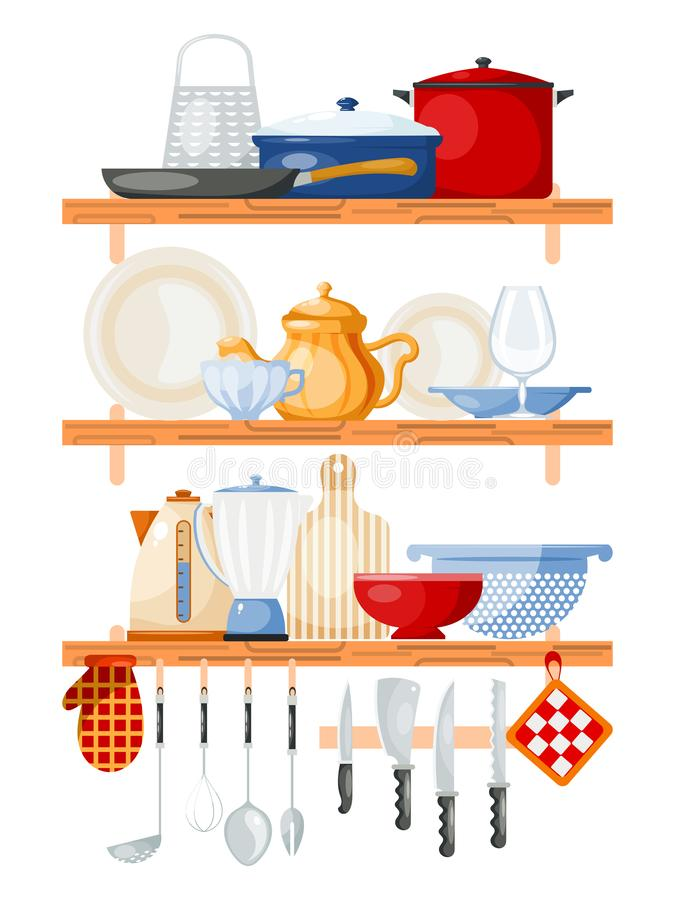 Kitchen tools on shelves vector illustration. Wooden shelf with kitchenware for cooking. Glass, porcelain and enamelware royalty free illustration