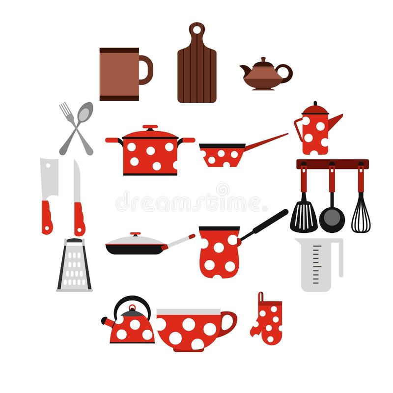Download Kitchen Tools And Utensils Icons, Flat Style Stock Vector    Illustration Of Double,
