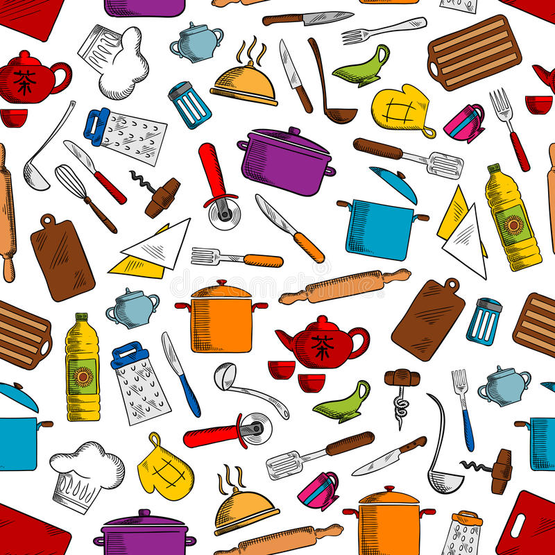 Kitchen tools and utensils seamless pattern stock illustration