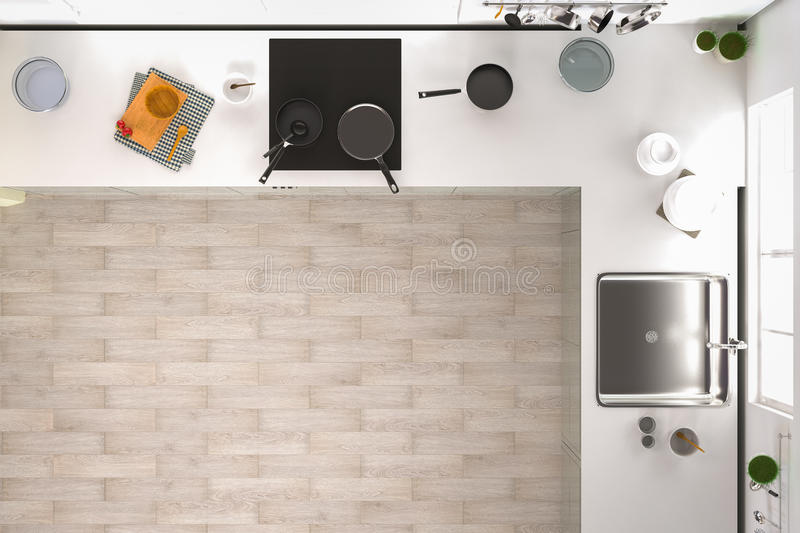 Kitchen Top Veiw : Kitchen top view stock illustration of home