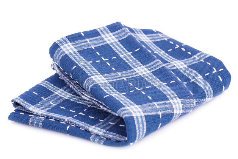 Kitchen towel. Blue and white kitchen towel isolated on white background stock images