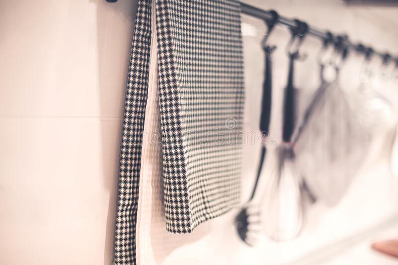 Kitchen towel placed on hanger royalty free stock photography