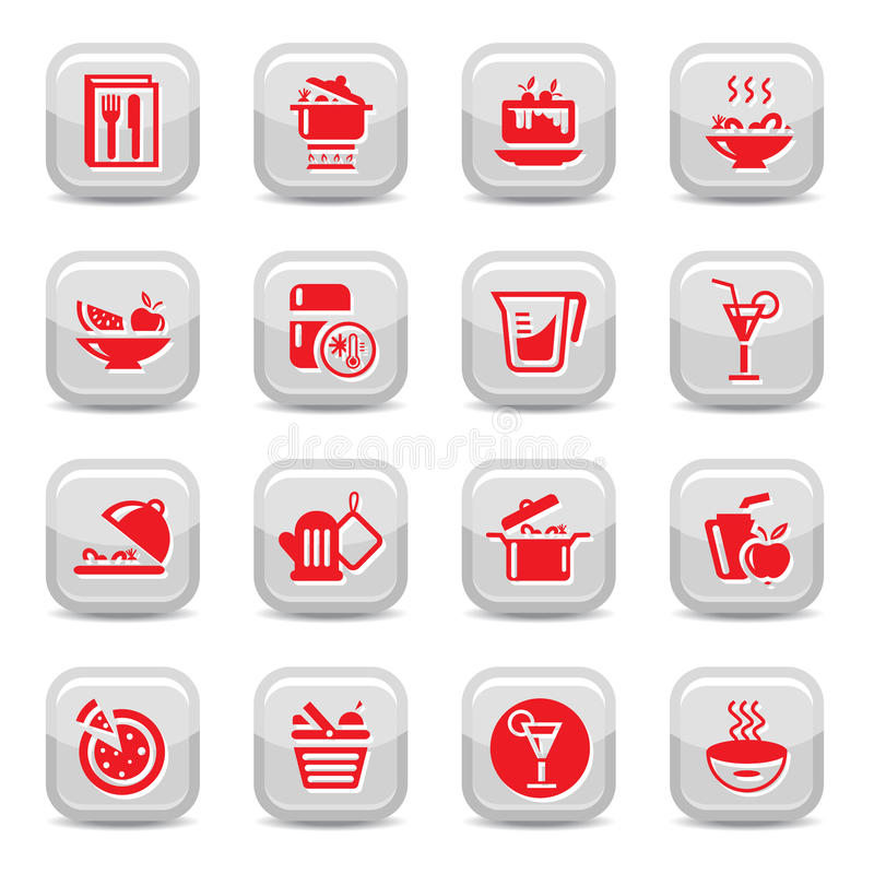 Download Kitchen type icons stock vector. Image of hamburger, food - 26837674