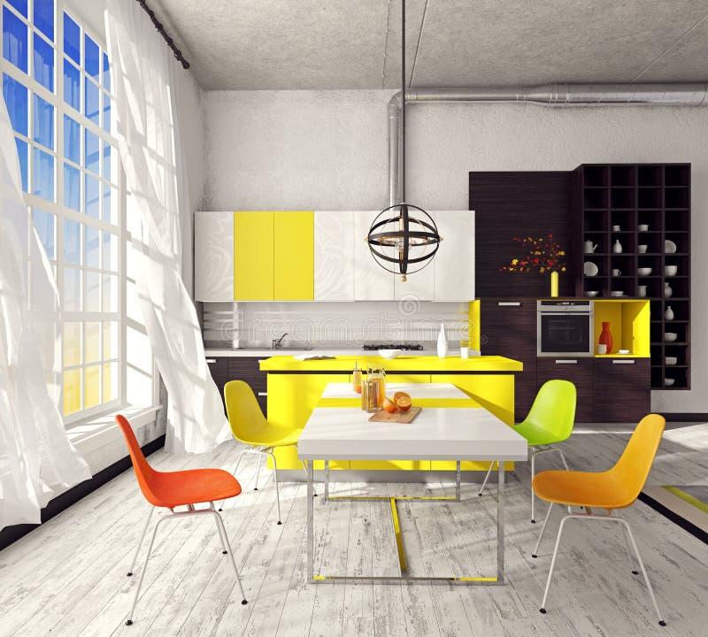 Kitchen unit in the interior vector illustration