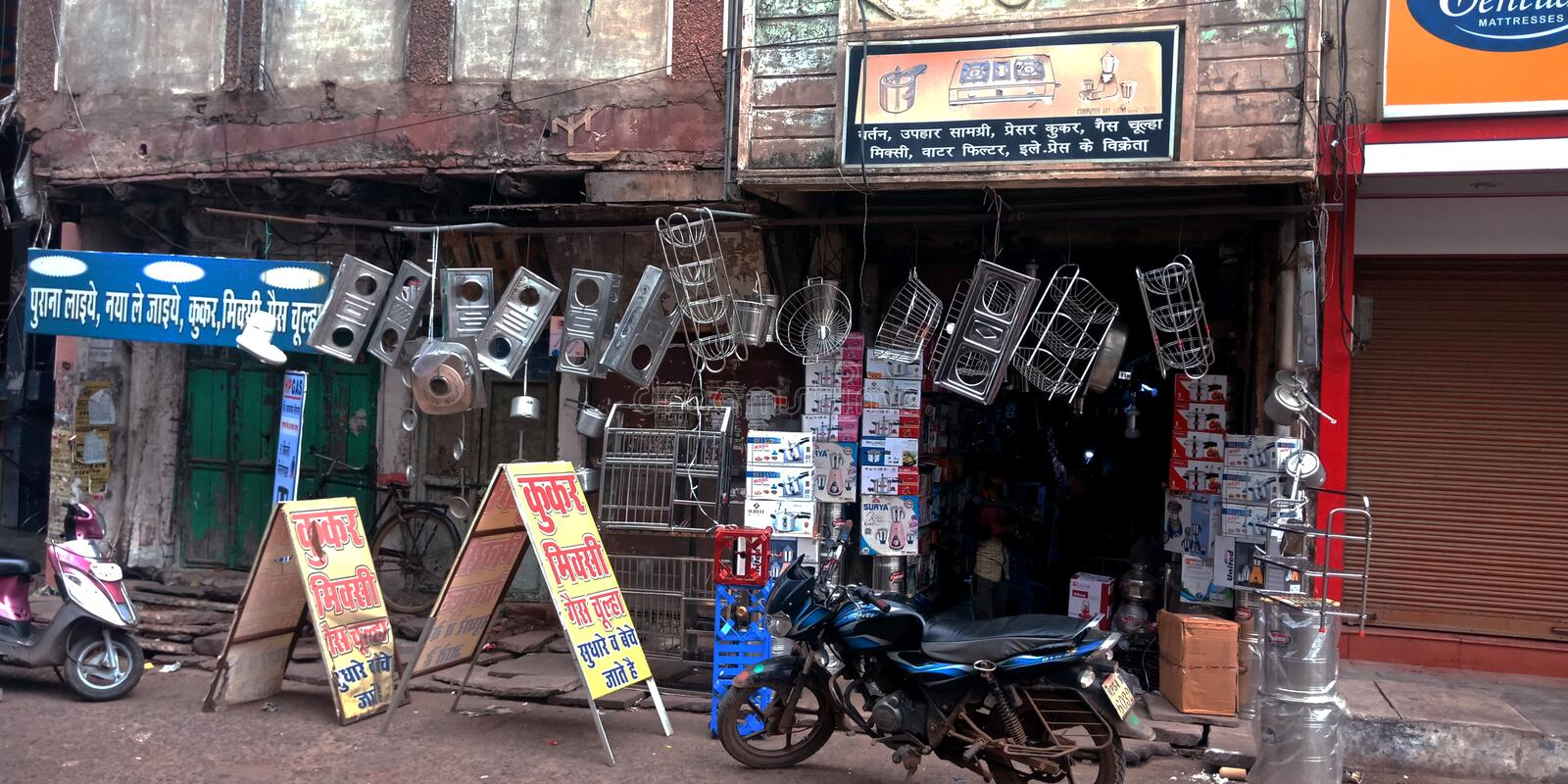 Kitchen usable item shop at main market street. Villege, people, crowd, farmers, indian, counting, vegetable, units, rural, area, coriander, leaves, wholesale royalty free stock image