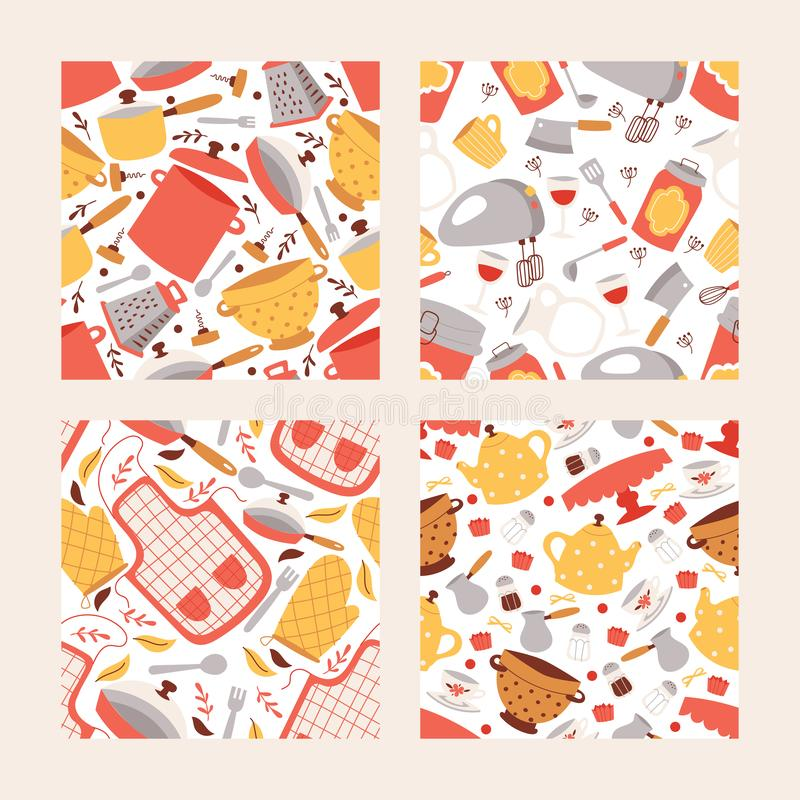 Kitchen utencils seamless pattern set. Cooking items vector illustration. Cartoon cookware icons, cooking tools and royalty free illustration