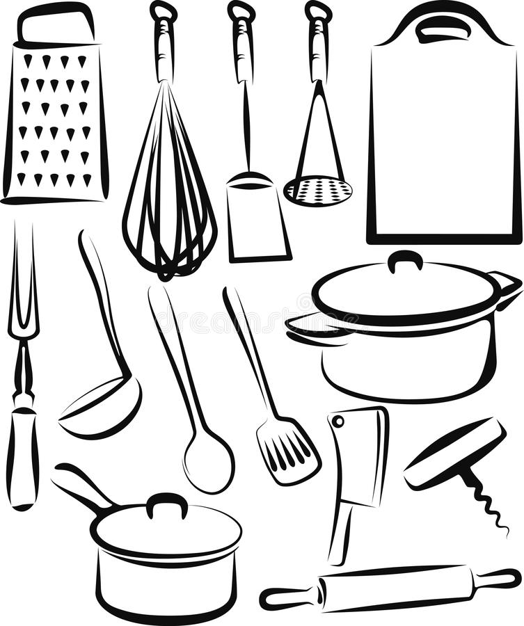 Set Of Black Kitchen Icons Utensils Stock Vector: Kitchen Utensil Stock Vector. Illustration Of Icon, Group