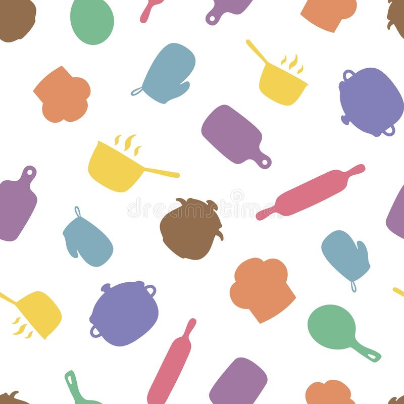 Kitchen utensil seamless pattern. Cooking repeating background for textile design, wrapping papper, scrapbooking. vector illustration