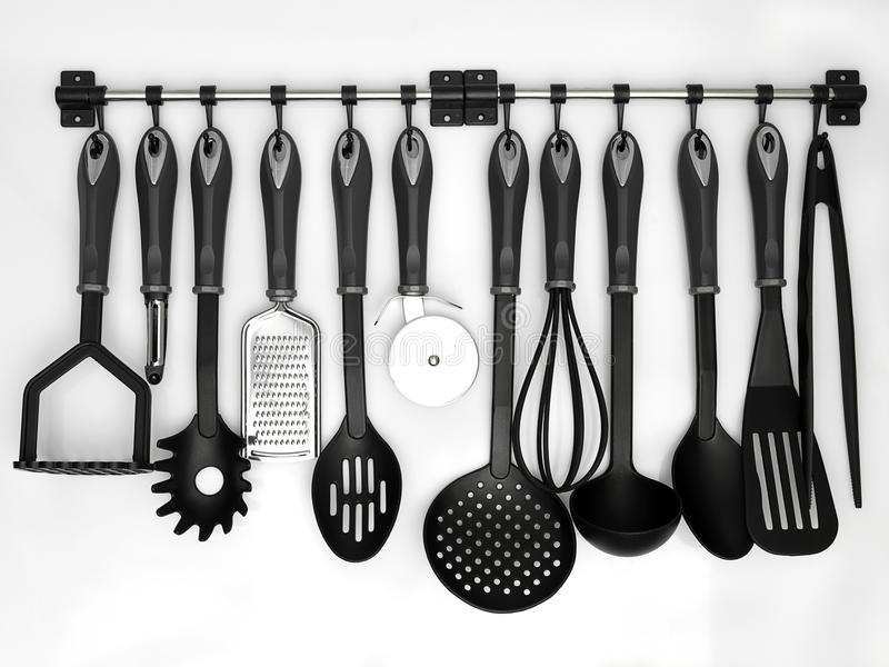 Download Kitchen utensils stock image. Image of black, cook, chrome - 27900903
