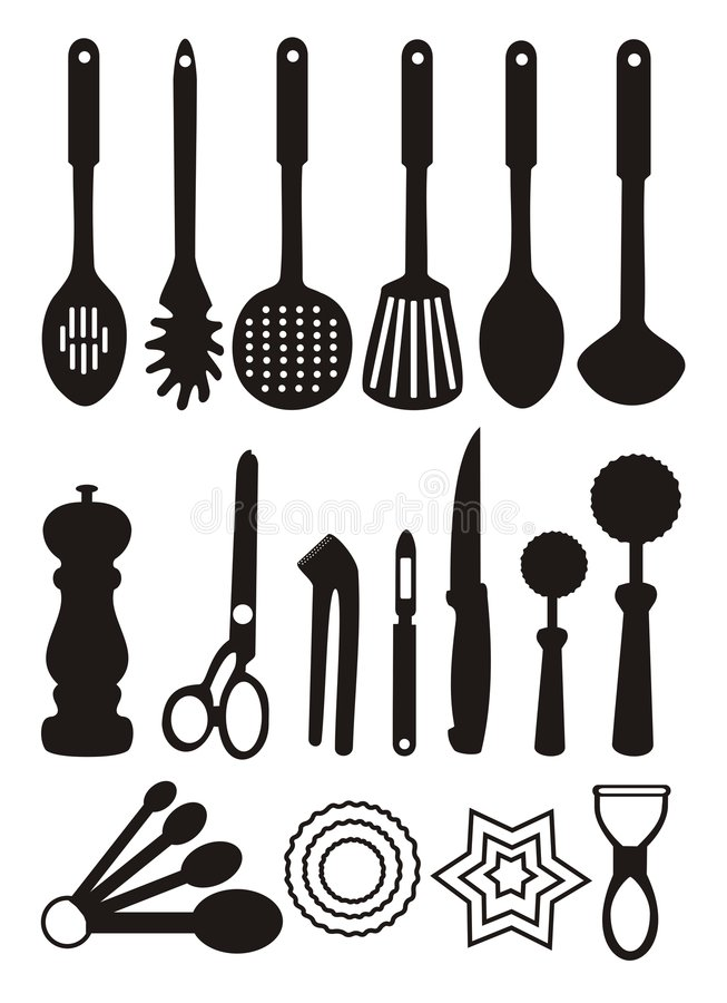 Kitchen utensils. Illustration of utensils used in kitchen for cooking and preparing food