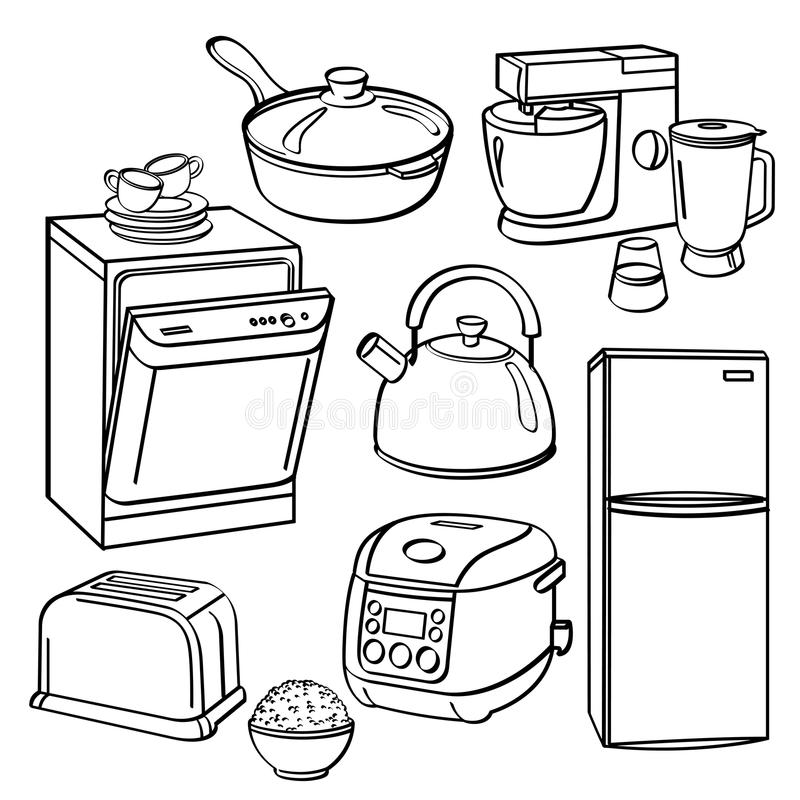 Kitchen Utensils And Appliances Stock Illustration