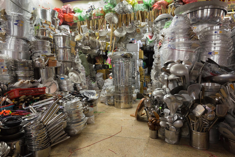 Kitchen utensils Asian shop. In the Cho Binh Tay market, saigon, Vietnam royalty free stock photo