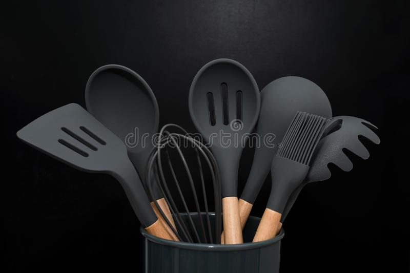 Kitchen Utensils Background With Copyspace Home Kitchen Decor Concept Black Kitchen Tools Rubber Accessories In Container Stock Image Image Of Menu Diner 167045827