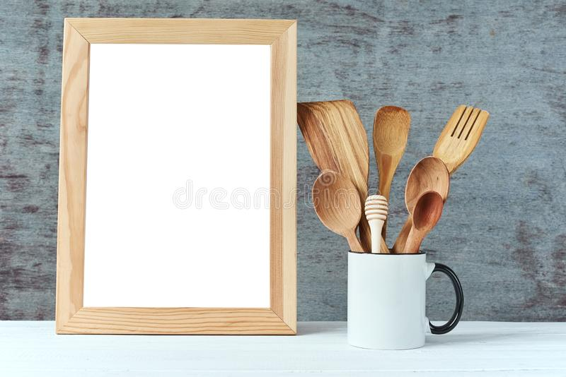 Kitchen utensils background with a white blank, copy space, home kitchen mockup royalty free stock photos
