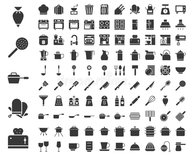 Kitchen utensils, bakery equipments, chef uniform and home appliance 100 icons, drawing on grid system, solid icon. Kitchen utensils, bakery equipments, chef royalty free illustration