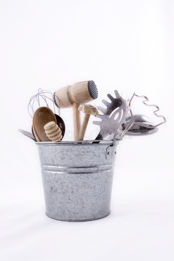 Kitchen Utensils in a Bucket stock photography