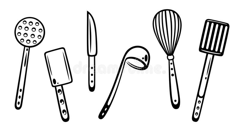 Kitchen utensils. Cooking and gstronomy stock illustration