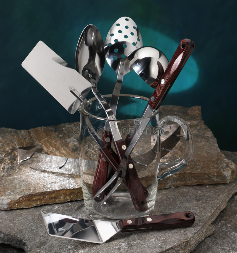 Free Kitchen Utensils Cooking Tools In A Glass Vase Stock Photo - 13116260