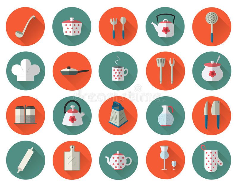 Kitchen utensils and cookware flat icons set, cooking tools stock illustration