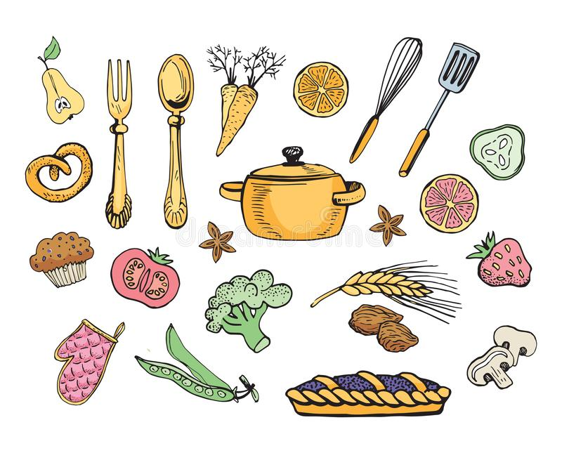kitchen utensils hand drawn cooking objects icons sketch style kitchen utensils hand drawn cooking objects icons sketch