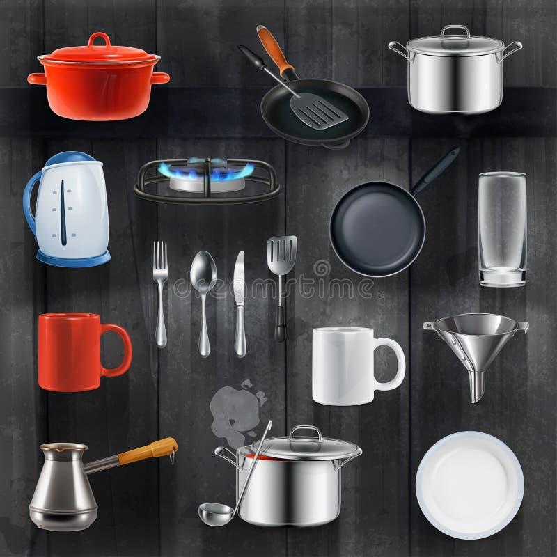 Kitchen utensils icons vector illustration