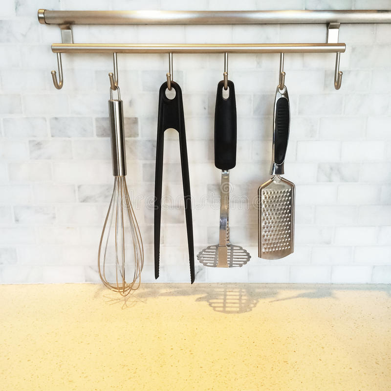 Download Kitchen Utensils On A Metal Wall Rail Stock Photo   Image Of  Utensils, Domestic