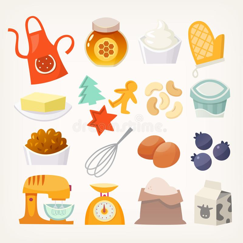 Kitchen utensils and products for baking vector illustration