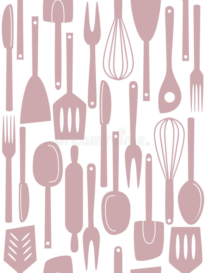 Kitchen utensils seamless pattern royalty free stock photo