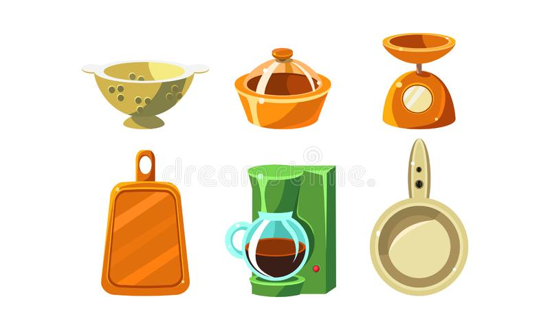 Kitchen utensils set, cooking tools, colander, scales, coffee maker, cutting board, frying pan vector Illustration. Isolated on a white background royalty free illustration