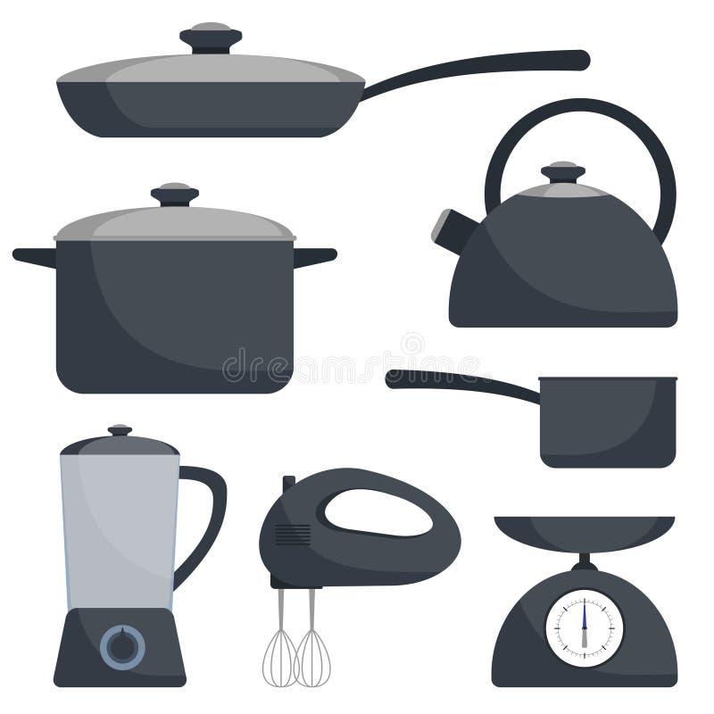 Kitchen utensils, set. Frying pan, saucepan, kettle, mixer, blender, scales. Vector flat illustration. Kitchen utensils, set. Frying pan, saucepan, kettle stock illustration