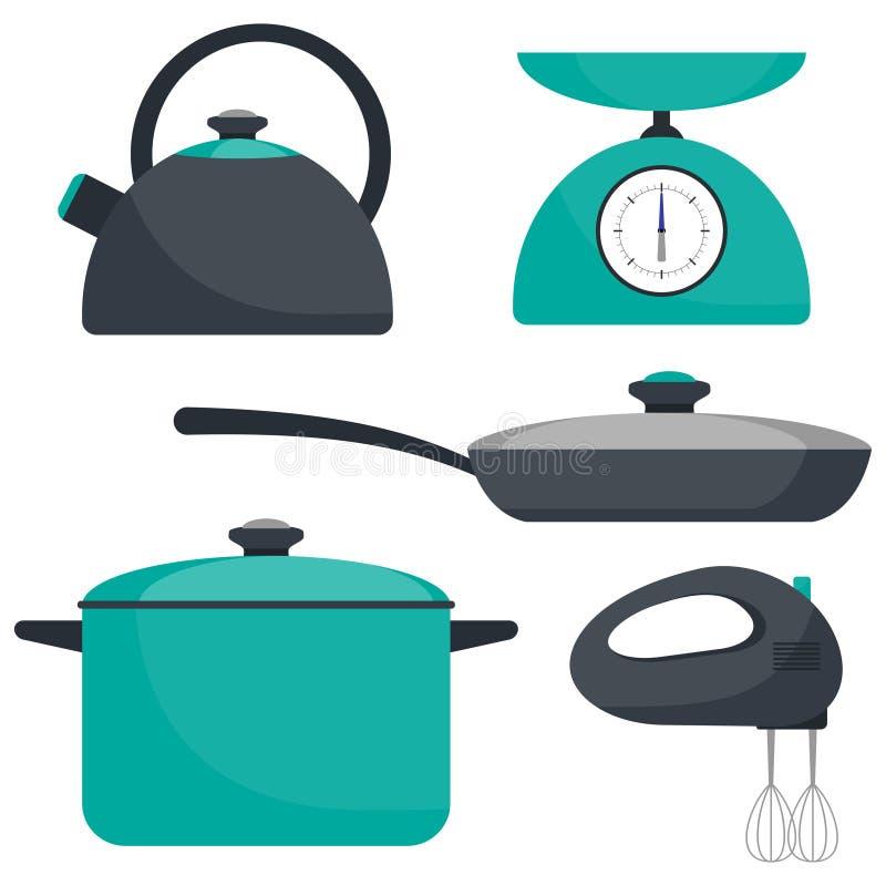 Kitchen utensils, set. Frying pan, saucepan, kettle, mixer, scales. Vector flat illustration. Kitchen utensils, set. Frying pan, saucepan, kettle mixer scales stock illustration