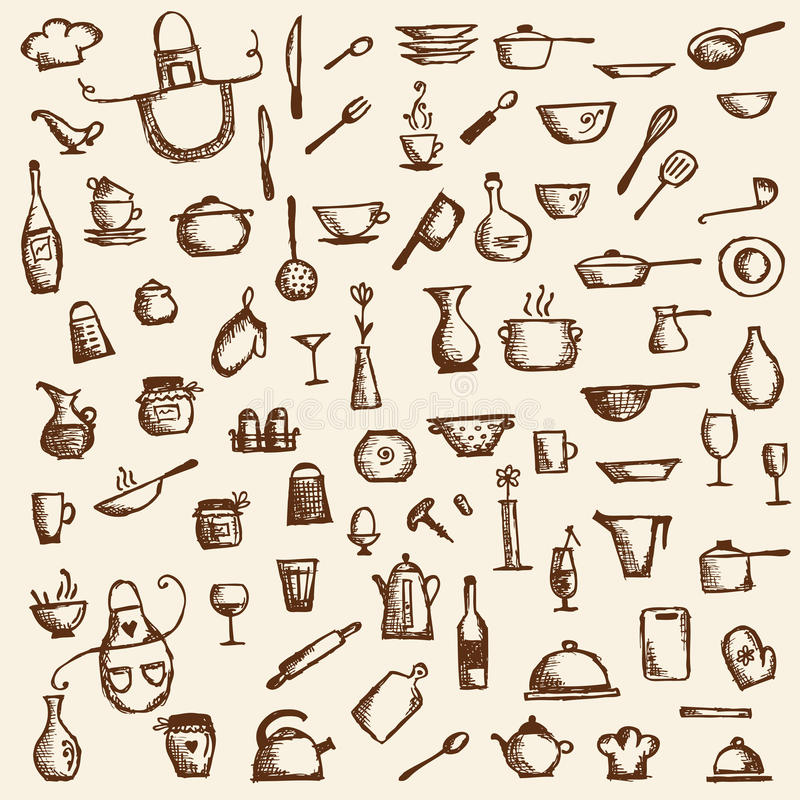 Download Kitchen Utensils, Sketch Drawing For Your Design Royalty Free Stock Photo - Image: 21735705