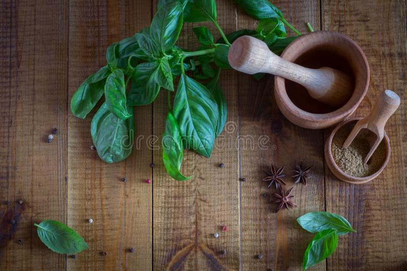 Kitchen utensils for spices. Fresh Basil and spices on the table. royalty free stock photography