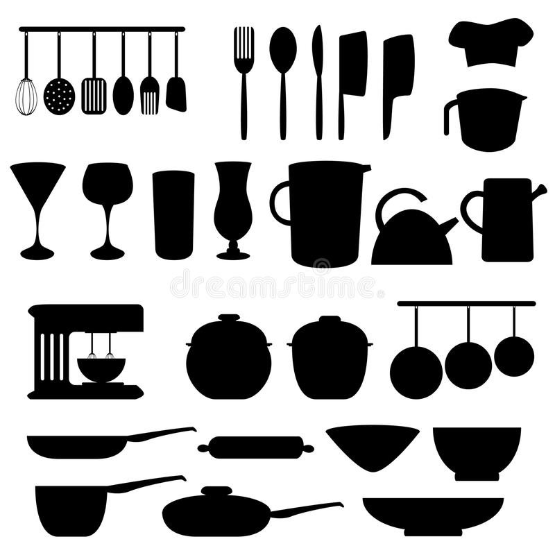 Kitchen utensils and tools royalty free illustration